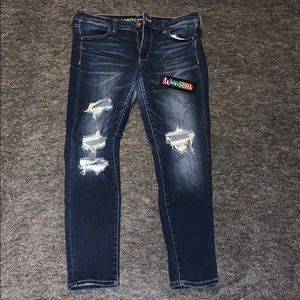 American Eagle Distressed Jeggings Size 14 short